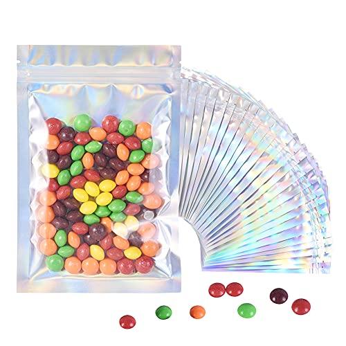 BaoWnylz 100Pcs Mylar Packaging Buste Alimenti, Sacchetti Alimenti Richiudibili Possono Essere Utilizzati Per la Conservazione e La Classificazione di Alimenti Per Feste(12*20cm)