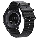 Fintie Bands Compatible with Galaxy Watch 46mm / Gear S3, Soft Woven Nylon Band 22mm Quick Release Adjustable Replacement Sport Strap Compatible with Samsung Gear S3 Classic/Frontier Smartwatch, Black