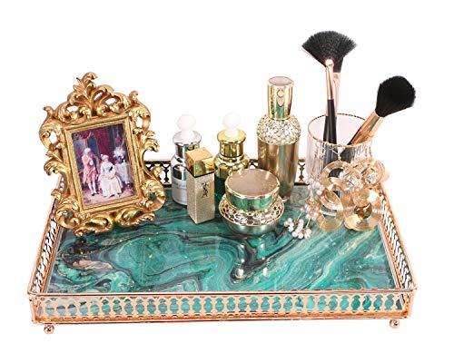 Simmer Stone Make-up-Organizer Tablett, dekoratives Glas Schminktisch für Parfüm, Make-up, Schmuck und Dekor, rechteckige Kosmetik Aufbewahrung für Kommode, Theke und Couchtisch, grün