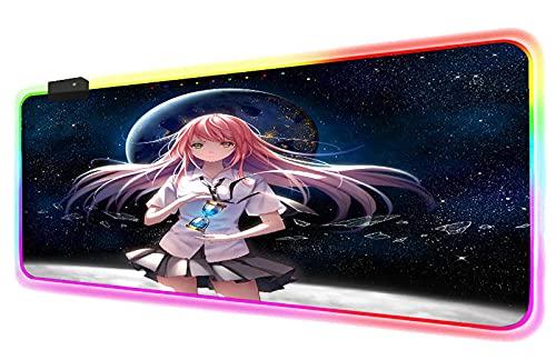 Alfombrillas de ratón Pink Hair Anime Girl Universe Starry Sky RGB Alfombrilla de ratón para Juegos 14 Modos de iluminación LED Glowing Extended XXL Mouse Mat 700x300 MM