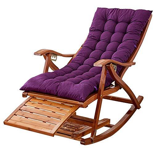 no brand Transat Chaise à Bascule en Bambou sur 5 Positions Fauteuil Pliant lit de Soleil en Plein air avec des Coussins en Coton pour terrasse, Balcon, Brun/Bleu/Gris/Violet/Rouge(Couleur, Bleu),po.