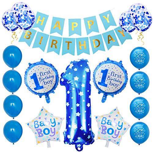Zaloife Geburtstagsdeko 1 Jahr Junge, Deko 1. Geburtstag, Luftballon Blau Konfetti zum 1. Geburtstag Party Kindergeburtstag Happy Birthday Banner Luftballons Konfetti Dekoration Erster Geburtstag