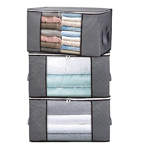 H.C Housecraft 3PCS Clothes Storage Bags for Blankets Comforters Closet Bedding & Bedrooms, Foldable Organizer for Large Capacity Storage with Clear Window & Reinforced Handle 23 x 15 x 13.5