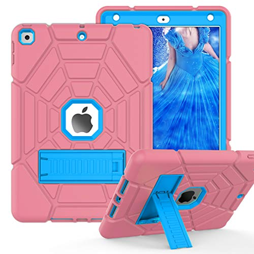 ZoneFoker Case for iPad 8th/7th Generation Case, iPad 10.2 Case 2020/2019, Heavy Duty Shockproof Protective 3-Layer Hybrid iPad Cover for Kids Girls with Stand for Apple iPad 10.2