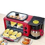 Tostador de Raxinbang Rojo 3 En 1 Multifuncional Tostadora 9L Desayuno Automático Mini Hogar Horno Cafetera De Acero Inoxidable Sartén