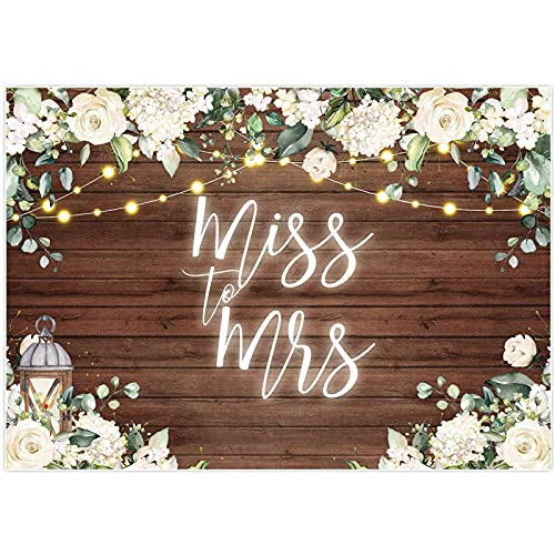 Allenjoy 7x5ft Miss to Mrs Backdrop for Bridal Shower Rustic White Floral Brown Wood Flower Wooden Wall Decoration Wedding Bride to Be Engagement Photography Background Photo Booth Prop