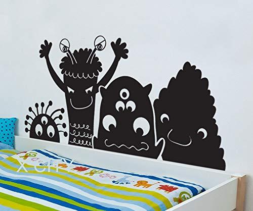 zhuzhuwen Wijnglazen Muurstickers Meisjes, Grote Silly Monster Vriendelijke Aliens Dream Cartoon, Meisje Slaapkamer Achtergrond Vinyl