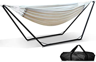Double Hammock | 2-Person Polyester Cotton Blend Fabric Swing Hammock Bed Hanging Camping Hammock with Stand for Backyard, Porch, Patio, Garden, Outdoor and Indoor Use