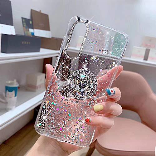 JAWSEU Funda Compatible con Huawei P30 con Anillo Soporte, Brillante Brillo Diamantes Strass Transparente Liquida Cristal Diseño Ultra Delgada Suave Silicona TPU Gel Goma Bumper Carcasa,Claro