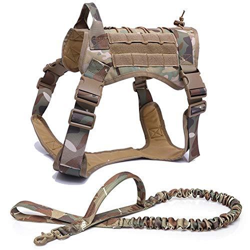 CHENGTAO Military Tactical Hundegeschirr Schäferhundehundeweste mit Griff Nylon Bungee Hundeleine Harness for kleine große Hunde-Welpen Training (Color : CP Harness and Leash, Size : XL)