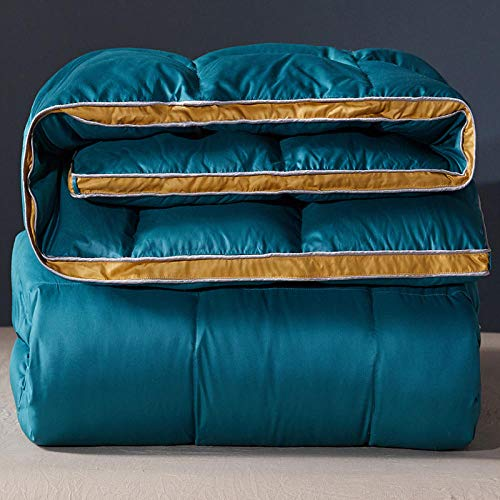 CHOU DAN Warm And Comfortable,Duvet 95 White Goose Down Winter Quilt Thickened Winter Spring And Autumn Quilt Double Single Student Dormitory Quilt White Duck Down-Dark Green_180x220 6 Kg