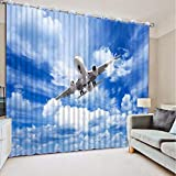 3D Printed Blackout Curtainsdigital Printing Design Distinctive Vertical Curtains, Sky Cloud Aircraft Print Simple Stylish Eyelet Curtains Breathable Insulation ,For Living Room Bedroom Kid Room Cast