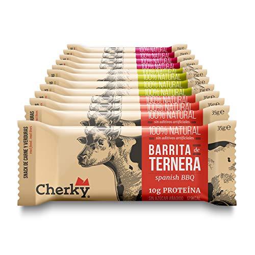 Cherky Beef Bars Variety Pack 12 Einheiten von 35g. Proteinreiches Trockenfleisch vom Rind – Getrocknetes High Protein Dörrfleisch ohne Zucker und ohne Zusatzstoffe. Beef Jerky