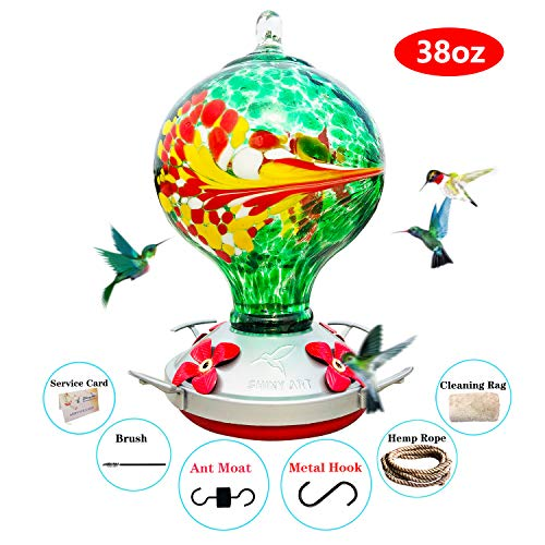 ShinyArt Hummingbird Feeder for Outdoors - Hand Blown Glass, 38 Ounces Nectar Capacity, Blue Phoenix, Including Ant Moat, Metal Hook, Hemp Rope, Brush, Cleaning Rag and Service Card