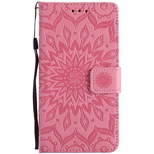 LAFCH Handyhülle für Xperia Z5 Hülle, Premium Mandala Geprägtes Muster PU Leder Flip Schutzhülle für Sony Xperia Z5, mit Karteneinschub, Rosa