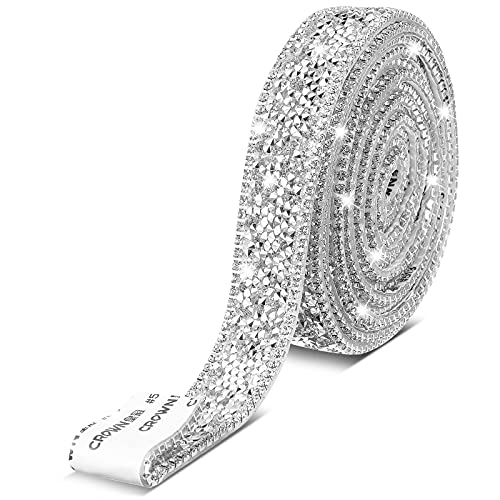 3 Yardas de Cinta de Cristal de Diamante de Imitación Autoadhesiva Rollo de Cinta de Diamante Adorno de Cinta de Diamante de Imitación para DIY Suministro de Adorno de Boda (Plata)