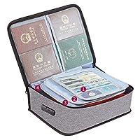 書類収納バッグ 耐火バッグ 4層式 パスワードロック金庫 貴重書類保管ケース パスポート ファイル 現金収納ケース 防水 大容量 安心 (グレー)
