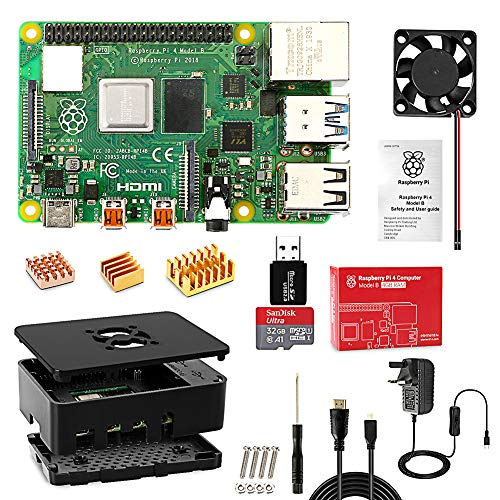 Jane Choi Raspberry Pi 4 B Model B 4GB Starter Kit (4GB RAM)-Motherboard 32GB SD Card Preloaded with NOOBS, Cooling Fan, UK Edition Power Supply, Micro HDMI to HDMI Cable, Black Case