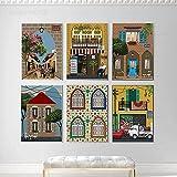 zuomo 6 Piezas HD impresión Lienzo Arte Pintura casa libanesa Pueblo árabe Vintage Viajes Ciudades Paisaje Carteles Pared Arte Imagen para Vivir 40x50 cm sin Marco