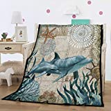 Felu Flannel Fleece Blanket Luxury 3D Dolphin Printed Soft Cozy Lightweight Durable Plush Throw Blanket for Bedroom Living Rooms Sofa Couch