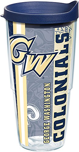 Tervis George Washington Colonials College Pride Tumbler with Wrap and Navy Lid 24oz, Clear