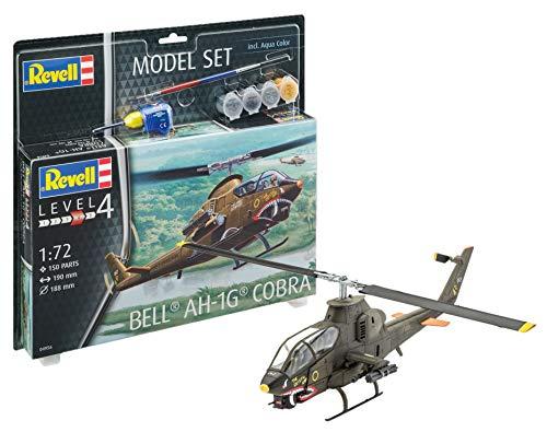 Revell 64956-Modellbausatz Hubschrauber 64956 Set Bell AH-1G Cobra im Maßstab 1:72, Level 4, Orginalgetreue Nachbildung mit vielen Details, Helikopter
