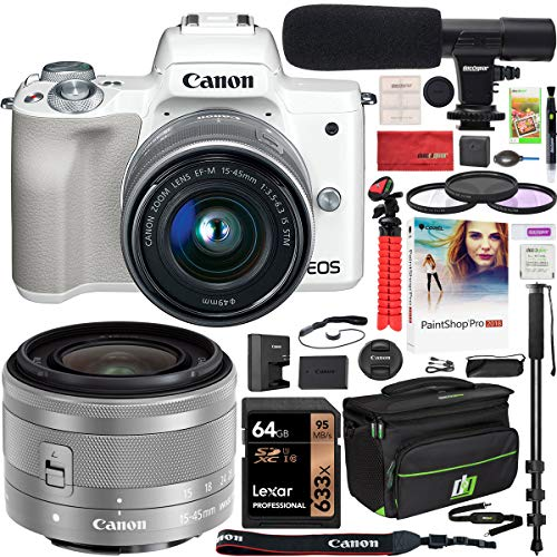 Canon EOS M50 Mirrorless Camera with 4K Video and EF-M 15-45mm Lens Kit (White) and Deco Gear Deluxe Travel Gadget Bag Case + Microphone + Monopod + Filter Set + 64GB Memory Card Accessory Kit Bundle