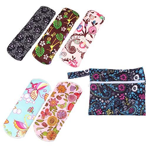 EXCEART 1 Juego Reutilizable Almohadillas Sanitarias de Fibra de Carbón Toallas Sanitarias Lavables Almohadillas Menstruales con Bolsa para Mujeres Y Niñas