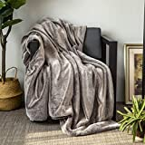 Sofila Faux Fur Throw Blanket Mink Plush Fleece, Super Soft Warm Cozy Fuzzy for Sofa Couch Bed Home Decorative Luxury Elegant, Grey Wolf, 50' x 60'
