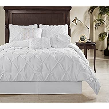 Chezmoi Collection Sydney-Com Sydney 7 Piece Pintuck Comforter Set, White, Queen