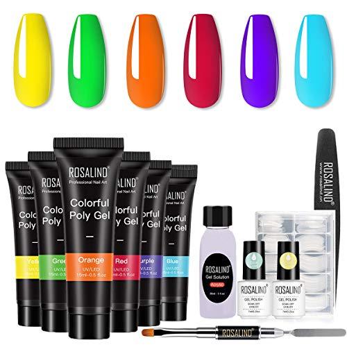 ROSALIND Poly Nail Gel Starter Kit - Neon Poly Nail Gel 6pcs...