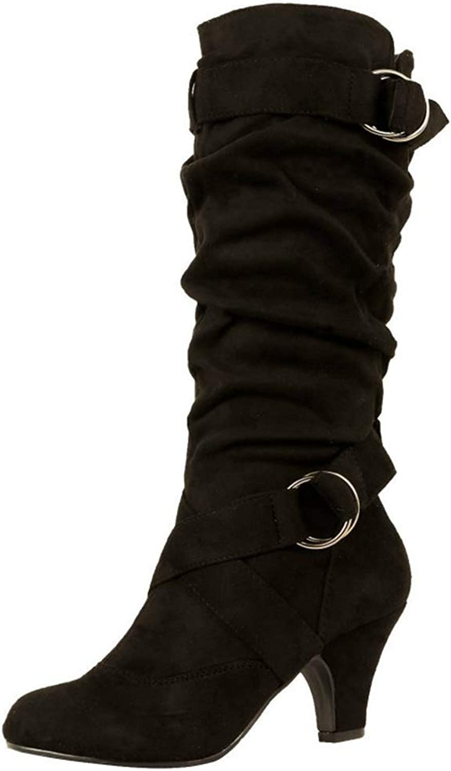ASO-SLING Women Winter Slouchy Mid Calf Boots Casual Belt Buckle Booties Suede Sexy Low Heels Martin Boots