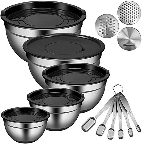 YUNLAN Kitchen Tool Mixing Bowl, 5-piece Set With Lid, Stainless Steel Stackable Measuring Cups For Kitchen, 6 Measuring Spoons, 3 Shredder Attachments, Measuring Marks And Silicone Bottom, Size 6/4.5