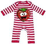 Hariz - Pelele para bebé, diseño de rayas de fresa, salmón, fruta, dulce, tarjetas de regalo, bomberos, color rojo y blanco lavado