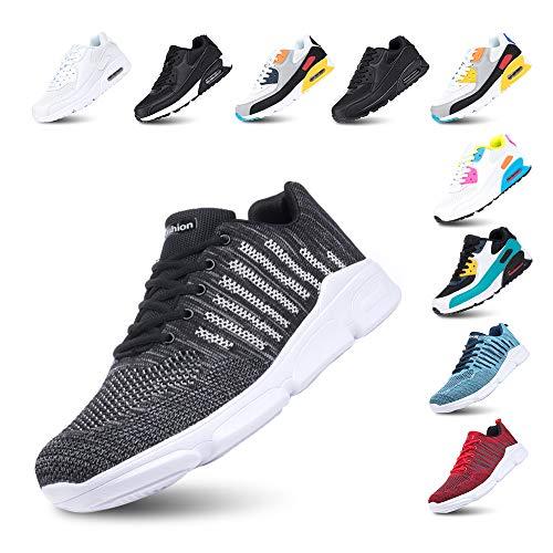Zapatillas de Running para Hombre Mujer Ligero Correr Air Atléticos Sneakers Comodos Fitness Deportes Calzado F-Negro 42