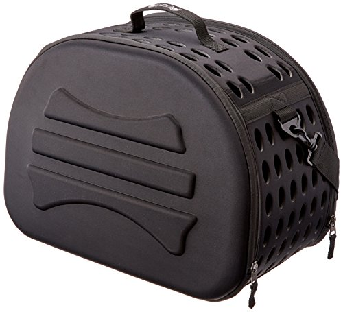Petzip Clamshell Hard Sided Pet Carrier, Black