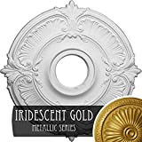 Ekena Millwork CM18ATIGS Attica Ceiling Medallion, 18'OD x 4'ID x 5/8'P (Fits Canopies up to 5'), Hand-Painted Iridescent Gold