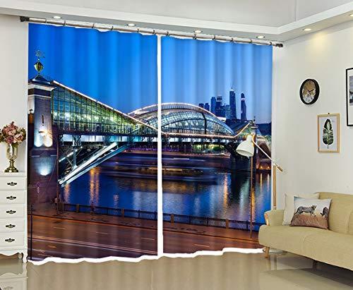 AmDxD Cortinas de poliéster con 2 paneles modernos, para dormitorio, puente de noche, para ventana, se puede lavar a máquina, azul, 200 cm de ancho x 172 cm de alto