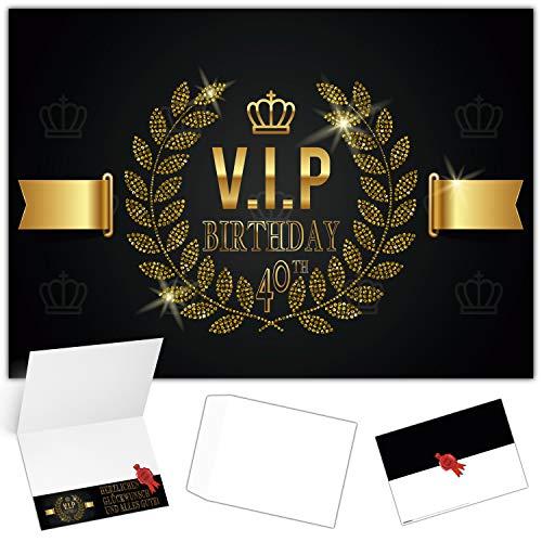 A4 XXL 40 Geburtstag Karte VIP 40th BIRTHDAY mit Umschlag - edle Geburtstagskarte Glückwunschkarte zum 40. Geburtstag für Frau Mann von BREITENWERK