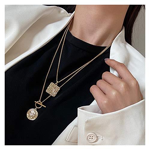 WanXingY Harajuku Metal Colgante Collar Mujer Joyería Bohemia Mujer Retro Oro Moneda Doble Collar (Color : BJ XL HN957)