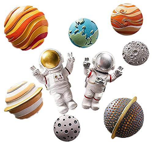 9 Imanes De Nevera De Resina 3D con Diseño De Astronauta Y Planeta, Decoración De Nevera con Un Potente Imán Planos, Imanes De Taquilla para Niños Y Niñas, Bonitos Imanes De Nevera