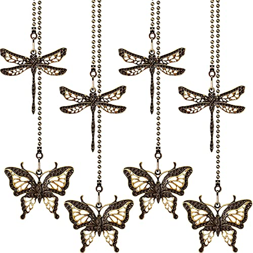 8 Pieces Butterfly and Dragonfly Pendants Ceiling Fan Pull Chain Danglers 13.78 Inches Fan Pulls Chain Extender with Ball Connector for Bathroom Toilet Light Ceiling Light Fan (Cyan)