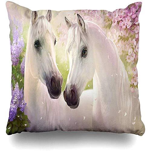 Doble Cojines Fundas 18' l Bing Lover Gift Custom Beautiful Horse Pink Paradise Flores Cálido Funda de Almohada Suave para la Piel