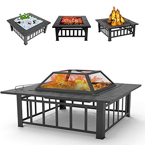 SEGMART 31.3'' Outdoor Fire Pit, Metal Firepit Table with Cover & Poker, Stove Wood Burning BBQ Grill Fire Pit for Backyard Patio Camping, Multi-Purpose Fireplace for Outdoor Heating Ice Pit BBQ