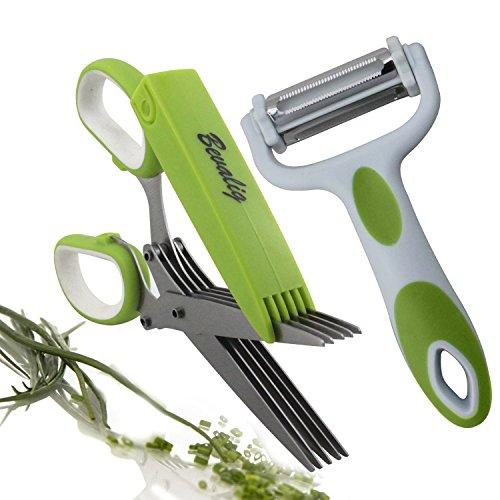 Herb Scissors And Multipurpose Peeler - 5 Sharp Blades Stainless Steel...