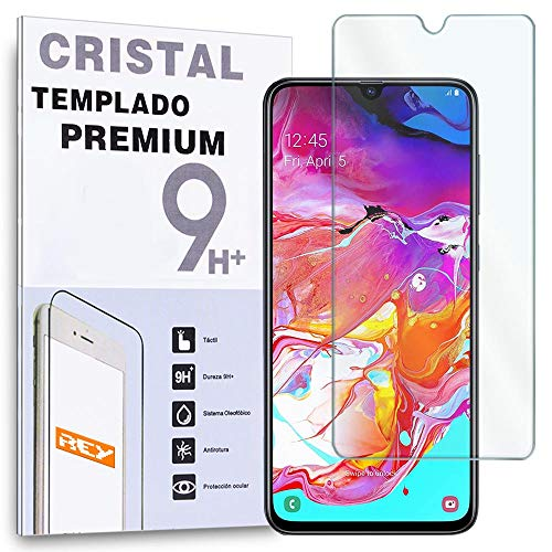 REY - Protector de Pantalla para Samsung Galaxy A70 - A70S, Cristal Vidrio Templado Premium
