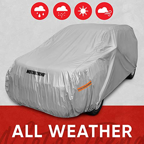 "Motor Trend Safeguard Car Cover for Vans/SUV - Advanced Protection Formula All Weather Waterproof Outdoor Vehicle Cover, Fits Vans & SUVs up to 210"" L (OV-642_N)"