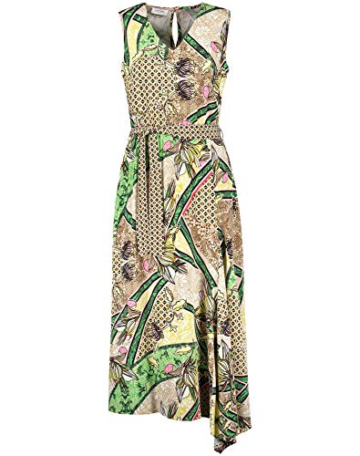 Gerry Weber Damen Kleid Mit Asymmetrischem Saum Figurumspielend, Tailliert Sand Gelb Multicolor Druck 42