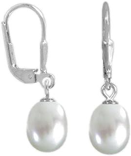 1313851646cbd7 ASS 925 argento orecchini a monachella a goccia orecchini con Perle 8,5-9mm