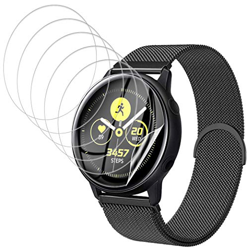 UniqueMe [6 Pack] Protector de Pantalla para Samsung Galaxy Watch Active 2 44mm Protector Pantalla, [Fácil instalación] [Película Flexible] Soft HD TPU Clear